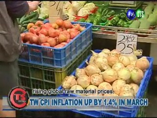TW CPI INFLATION UP BY 1.4% IN MARCH