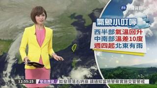西半部氣溫回升 中南部溫差10度 週四起北東有雨