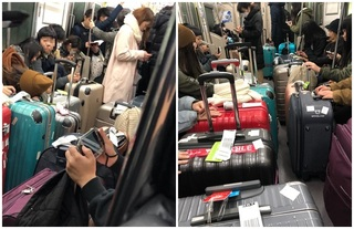 台人旅日搭列車行李檔道 廣播勸阻他們大笑後裝睡