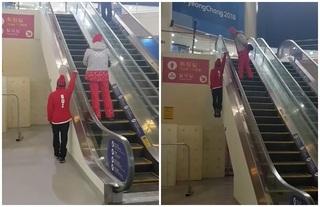 """請勿模仿! 平昌冬奧選手太強單手""""手扶梯""""上樓"""