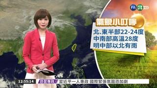 中南部高溫28度 明中部以北有雨