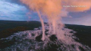 夏威夷火山龍捲噴發 空中添滿亮橘色