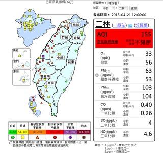 大氣擴散條件差 16空品測站達紅色警示