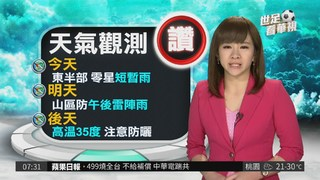 今明天氣悶熱 西半部高溫飆34度