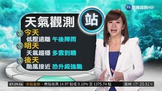 """明起天氣轉晴 週末""""山竹""""影響台灣"""