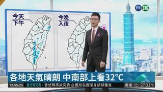 各地天氣晴朗 中南部上看32℃