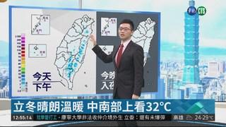 立冬晴朗溫暖 中南部上看32℃