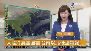 大陸冷氣團強襲 台南以北低溫特報