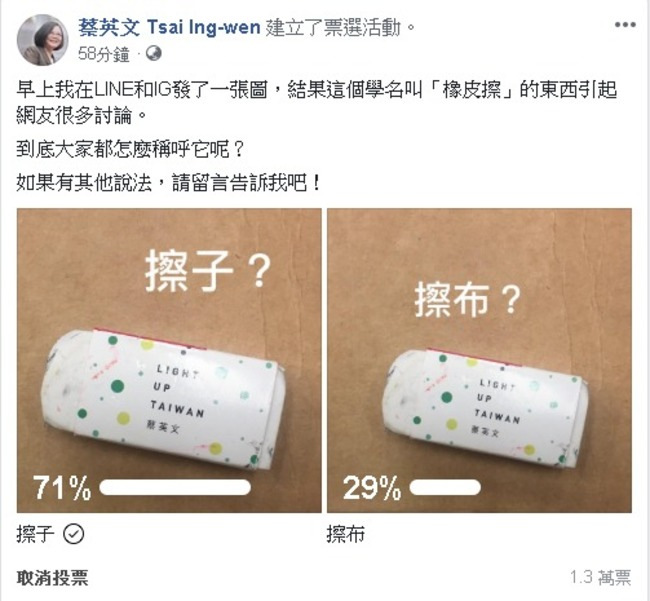 擦布還是擦子? 蔡臉書辦票選 網友笑「總統級廢文」   華視新聞