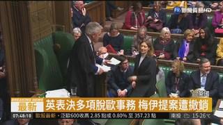 英國會表決通過 拒絕硬脫歐方案