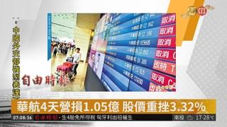 華航4天營損1.05億 股價重挫3.32%
