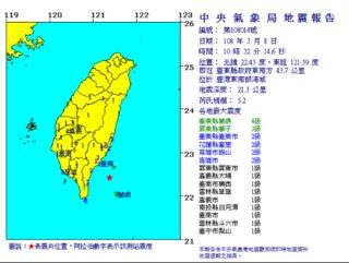 快訊/10:32台東5.2地震 蘭嶼震度4級