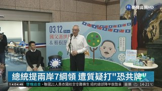 """總統提兩岸7綱領 遭質疑打""""恐共牌"""""""