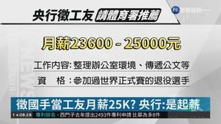 央行徵退役國手當工友 月薪25K挨轟