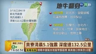 【台語新聞】貢寮清晨5.1強震 國家級警報大作