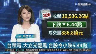 台積電.大立光翻黑 台股今小跌6.44點