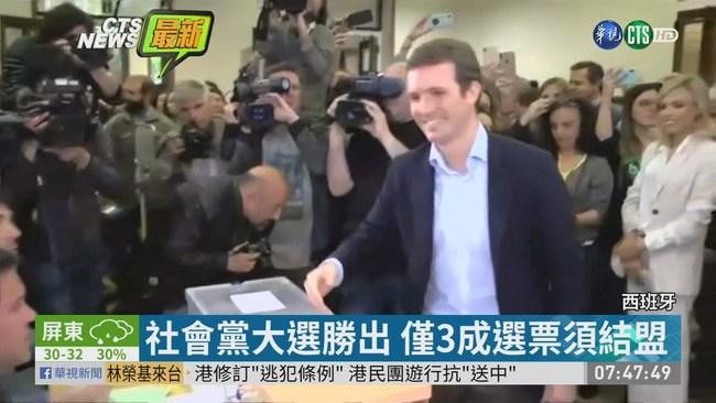 西班牙國會大選出爐 社會黨有望勝選 | 華視新聞