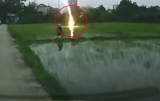 農夫田中收割... 1秒被閃電劈中當場慘死