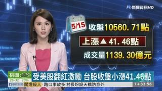 受美股翻紅激勵 台股收盤小漲41.46點