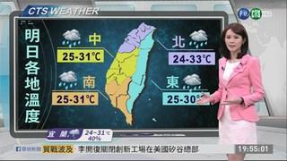 中南部山區留意 午後雷陣雨