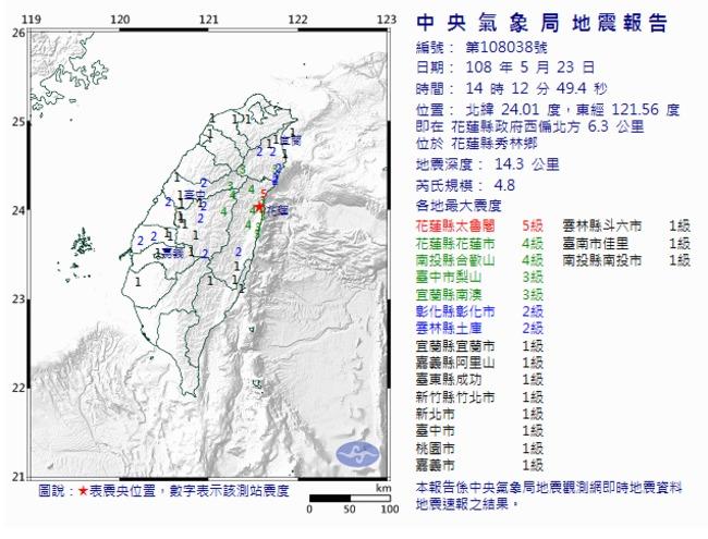 快訊/花蓮發生規模4.8地震  最大震度5級 | 華視新聞