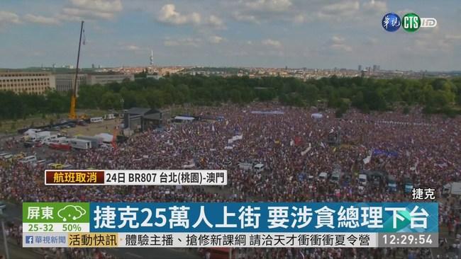 捷克25萬人上街 要涉貪總理下台   華視新聞