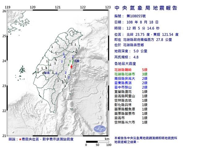 花蓮壽豐鄉1小時連3震!規模最大4.8   華視新聞
