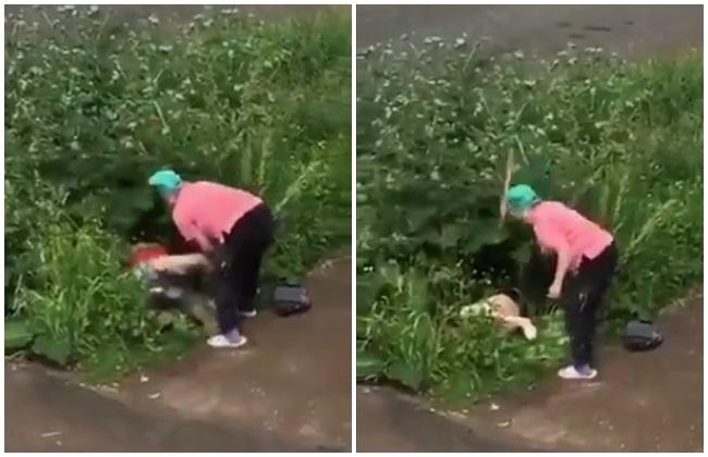 俄情侶路旁小草叢「運動」 惹怒大媽拿木板痛擊 | 華視新聞