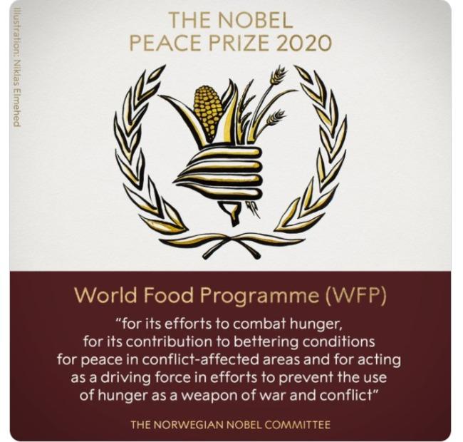 諾貝爾和平獎揭曉!「世界糧食計劃署」獲獎   華視新聞