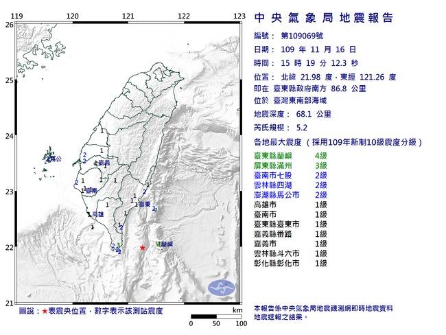 15:19東南海域5.2地震 最大震度蘭嶼4級 | 華視新聞