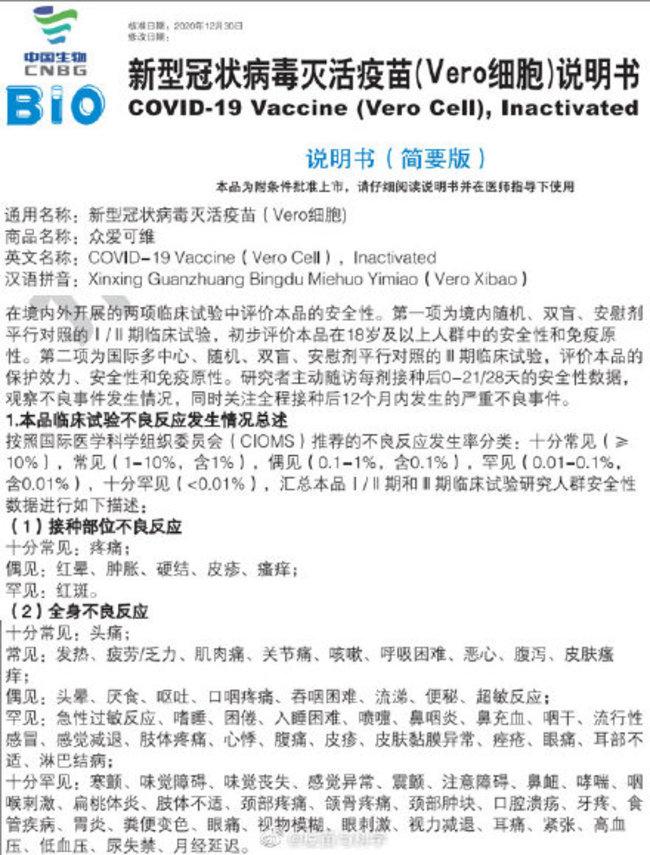 中國新冠疫苗副作用達73種! 中國專家:世上最危險 | 華視新聞