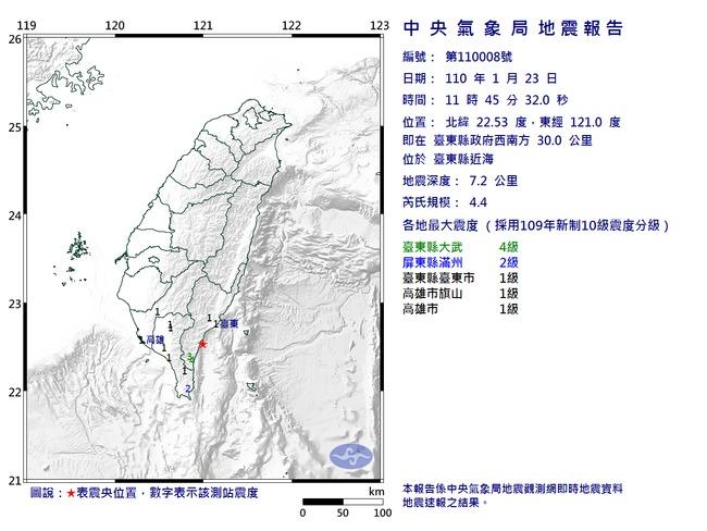 11:45台東4.4有感地震 深度僅7.2公里 | 華視新聞