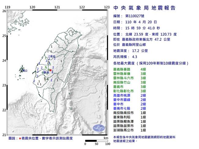 15:59嘉義阿里山鄉4.3地震 最大震度4級 | 華視新聞