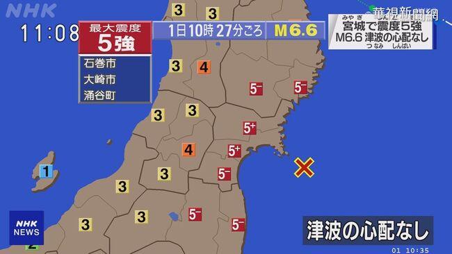日本宮城外海規模6.6震 未發布海嘯警報 | 華視新聞