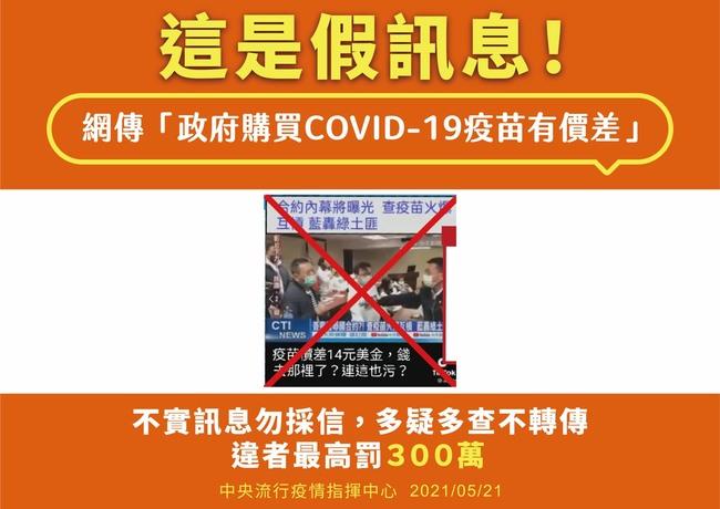 網傳「政府買某家疫苗有10餘美元價差」 指揮中心否認   華視新聞