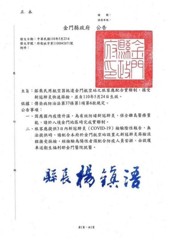 「金門快篩公告」違法撤銷! 衛福部:應依陳時中指示辦理 | 華視新聞