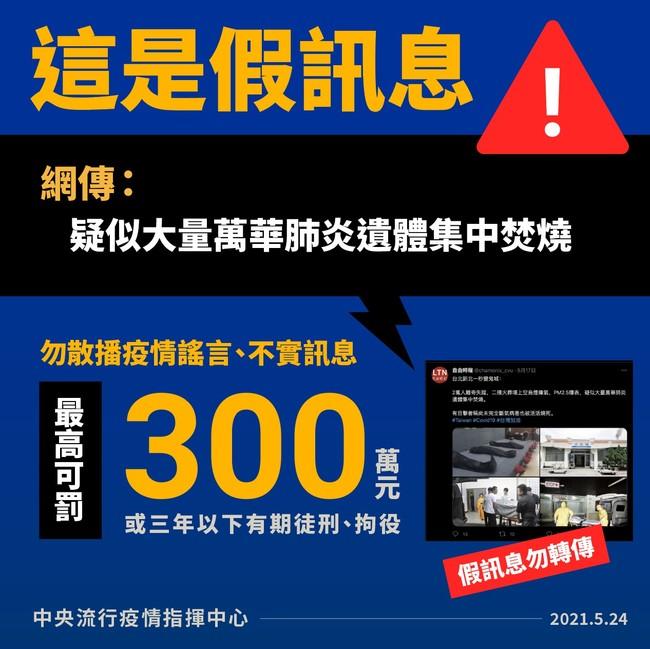 網傳「大量萬華肺炎遺體集中焚燒」 指揮中心:假的... | 華視新聞