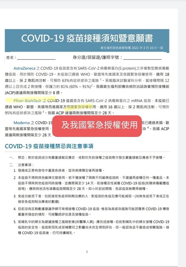 [新聞] 接種意願書曝BNT「緊急使用授權」?陳時