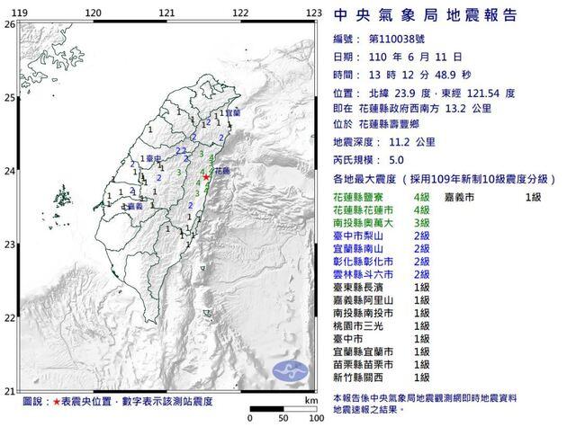 花蓮下午連5震!芮氏規模5.3 最大震度5級 | 華視新聞