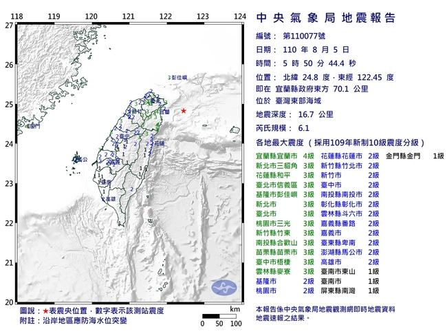 宜蘭外海連4震!規模6.1超有感 最大震度宜蘭4級   華視新聞