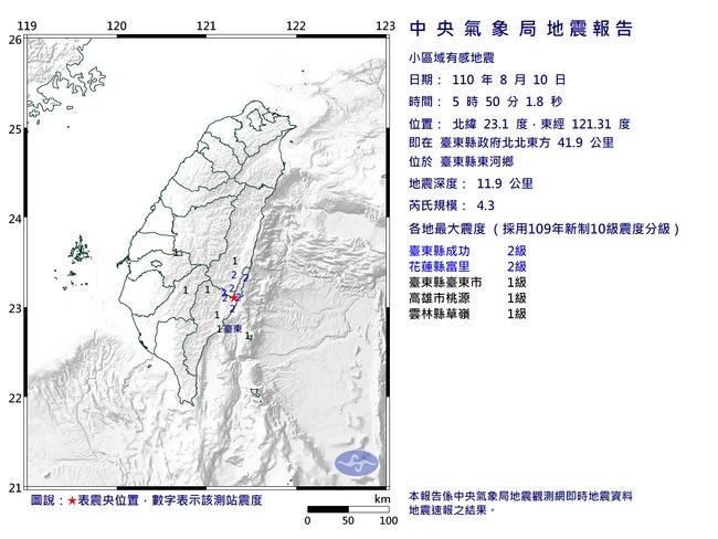 東部5小時連3震 最大規模4.3、震度3級 | 華視新聞